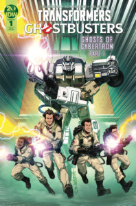 Transformers/Ghostbusters #1 Cover RIA by Alex Milne and Josh Perez. Published by IDW Publishing. - The Ghostbusters team rolls out, a Transformer following behind them