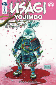 Usagi Yojimbo: Bunraku #1 Cover by Stan Sakai. Published by IDW Publishing. June 19, 2019. - A rabbit in samurai gear glares at the viewer, standing in a puddle of blood against a background of falling pink cherry blossoms