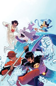 Cover for Wonder Twins #5 - Zan and Jayna fighting the League of Annoyance