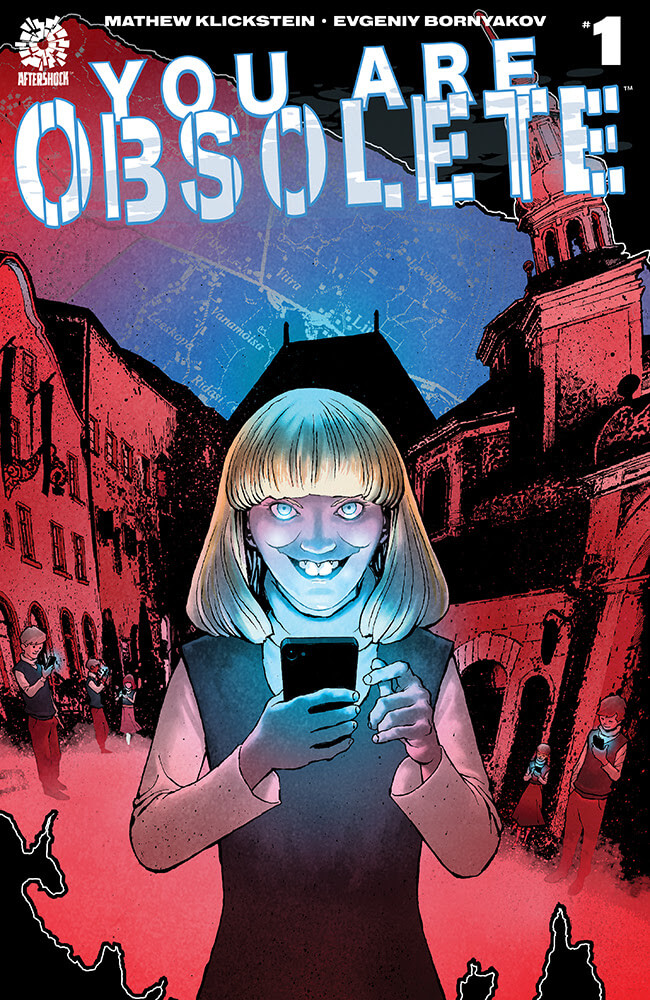 Cover for You Are Obsolete - A creepy looking child smiles menacingly while holding a cellphone