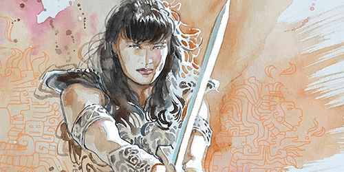 David Mack Variant for Xena #3 Vita Ayala (writer), Paulina Ganucheau, Emanuela Lupacchino And Triona Farrell, David Mack (covers), Ariana Maher (lettering), Rebecca Nalty (colors), Jordi Pérez (art) C Dynamite Comics June 12th, 2019