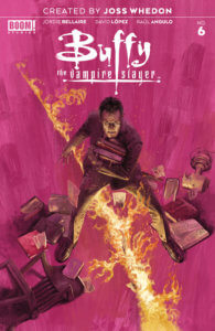 Buffy the Vampire Slayer #6, cover by Marc Aspinall, BOOM! Studios, 2019 - Giles holding a pile of books, standing astride a fiery rift in the floor