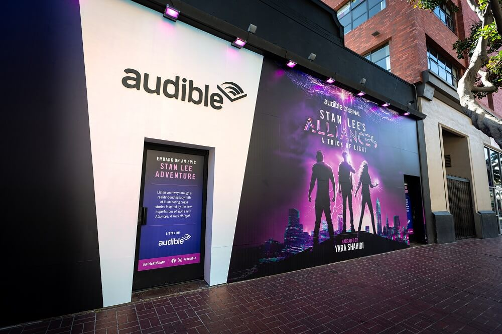The street display for Audible/Stan Lee's Alliances A Touch of Light experience