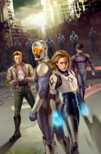 A group of new superheroes pose on the cover of the first issue of Catalyst Prime