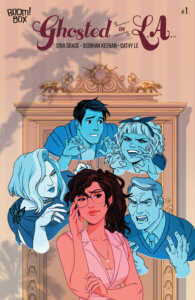 Cover for Ghosted in L.A. #1 - Sina Grace (writer), DC Hopkins (letterer), Siobhan Keenan (artist), Cathy Le (colorist) BOOM! Box July 10, 2019 - A young woman touches her glasses and looks skeptical as the portraits of four others hover around her making various expressions