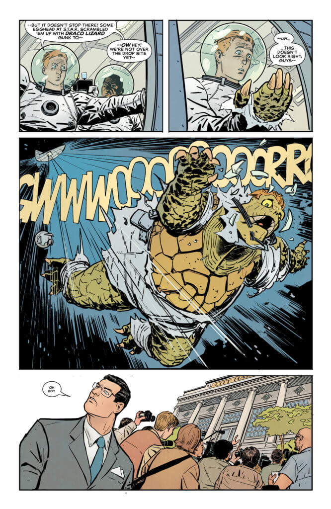 "Jimmy Olsen turning into a giant turtle with red hair and falling out of a space shuttle. Clark Kent exasperatedly looking up and saying ""oh boy"""