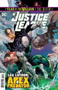 Lex Luthor beating Martian Manhunter with the JL in the background
