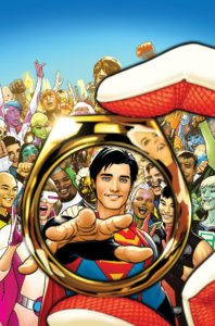Saturn Girl holding a Legion ring for Superboy as the rest of the Legion looks on and smiles