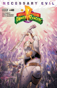 Mighty Morphin Power Rangers #40, cover by Jamal Campbell, BOOM! Studios, 2019 - A white-suited Power Ranger wielding a sword against a rain of falling glass or crystal