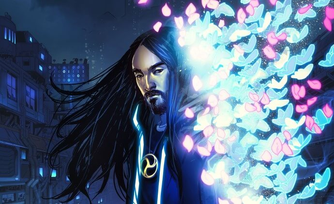 Steve Aoki appears as Kita on the cover of Neon Future #1, dressed in black and surrounded by glowing digital butterflies