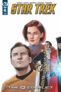 Cover for Star Trek: The Q Conflict #6 Cover A by David Messina. Written by Scott and David Tipton, drawn by Elisabetta D'Amico and David Messina. Published by IDW Publishing. 24 July, 2019. - Portraits of Kirk, Janeway, and two characters in historical costume against a white background