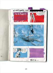 A top-down image of a sketchbook with color-blocked panels. One figure asks another what makes them feel like living.