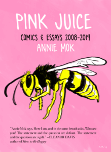 "A yellow bee on a pink background, above which is the book's title ""Pink Juice"""