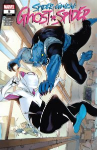 Spider-Gwen fights an angry blue-clawed Man-Beast