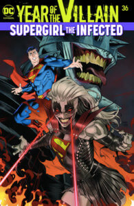 A Jokerized Supergirl using heatvision in front of Superman and the Batman Who Laughs