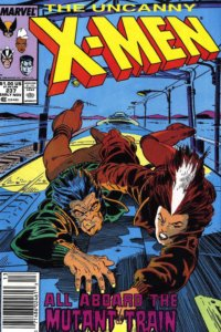 Cover for Uncanny X-Men #237, Terry Austin (inker), Chris Claremont (writer), Rick Leonardi (penciler), Glynis Oliver (colorist), Tom Orzechowski (letterer) - Wolverine and Rogue hold on to the top of a rushing train