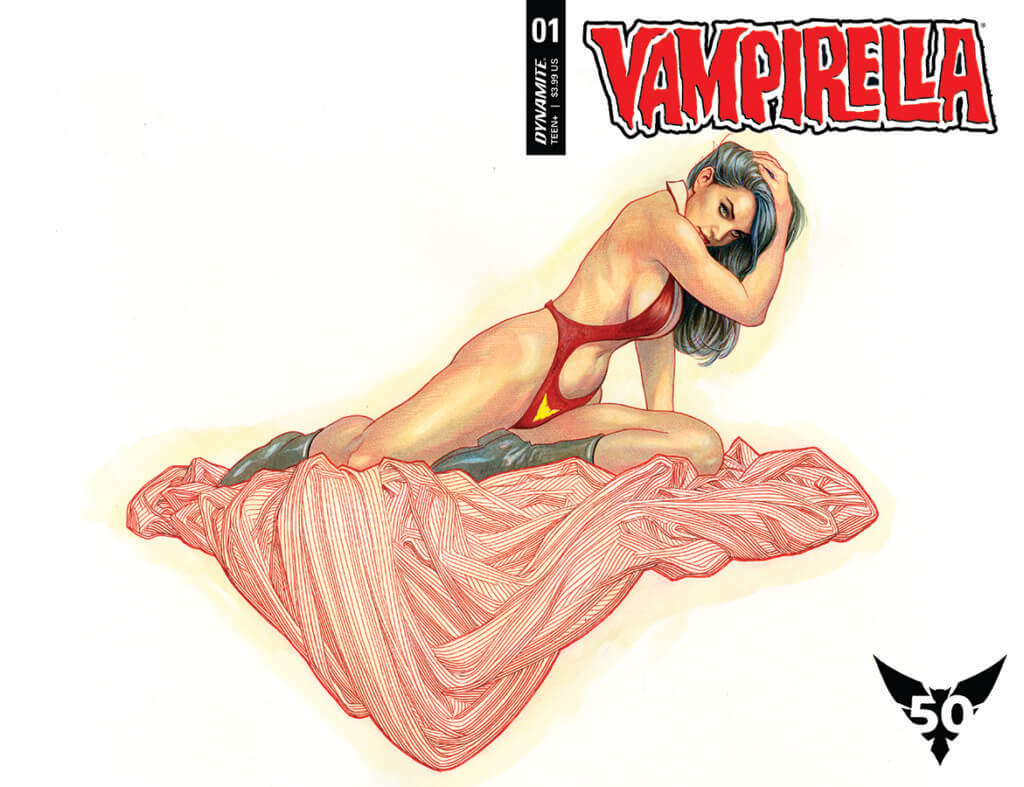 Vampirella poses on a coral blanket. Art by Frank Cho.