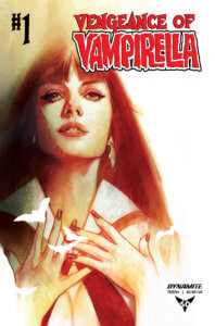 Ben Oliver cover for Vengeance of Vampirella #1, C October 2019 Dynamite Comics - A chest-up portrait of Vampirella holding her hands to her collarbone