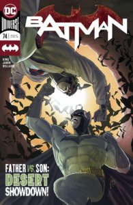 Cover for Batman: Rebirth #74, Jordie Bellaire (colorist), Clayton Cowles (letterer), Mikel Janin (artist), Tom King (writer), DC Comics, July 10th 2019 - Batman faces off against an opponent with bats flying in the background