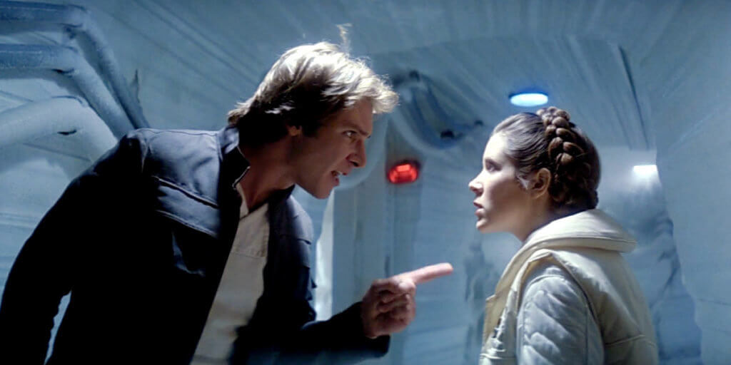 """Han Solo tells Leia what she needs is a """"good kiss."""" Rude."""