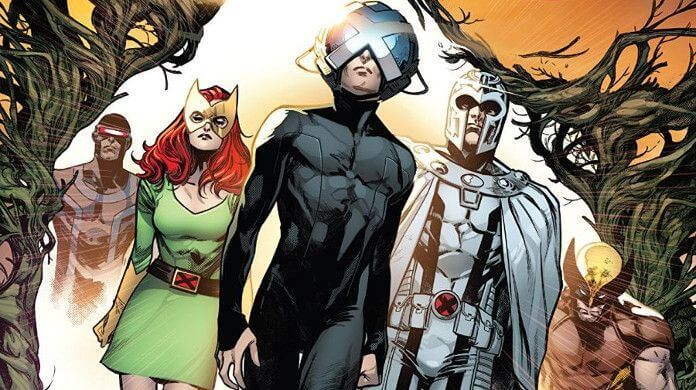 Charles Xavier walks out of a bright portal, leading Marvel Girl, Wolverine, Cyclops, and Magneto