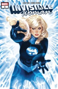 Cover for Invisible Woman #1 - Joe Caramagna (letterer), Adam Hughes (cover artist), Mattia de Iulis (artist), Mark Waid (writer), Marvel Comics, July 10th, 2019 - Sue Storm in an action pose, throwing invisible shield bubbles at the viewer