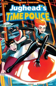 "Erica Henderson cover for Jughead's Time Police #2 - Derek Charm (cover/art), Sina Grace (writing), Erica Henderson (cover), Matt Herms (coloring), Jack Morelli (lettering), Rosario ""Tito"" Peńa (covers) - C Archie Comics July 17th, 2019 - January McAndrews in a cool uniform atop a hovercraft, as Jughead clings to it behind her"