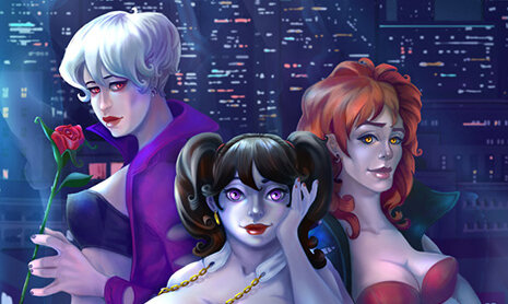 A crop of the cover to Midnight Widows #1. Three women, all with pale, blue-lit skin, stand in a row: the first, tall with short white hair, holds a rose; the second, the shortest, has black hair worn in pigtails; and the third has bright auburn hair. Midnight Widows #1; Wendy Browne, Jio Butler, Marcela Hauptvogelova, Delia Mihai, Doris V. Sutherland, Rosie Wigg; 2019