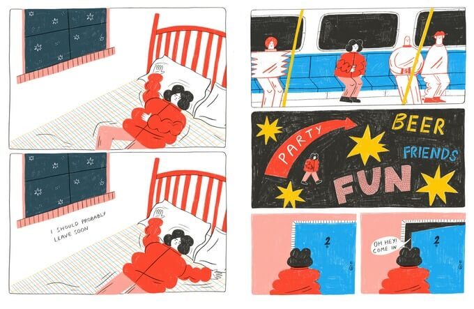 """Two pages from Missed Connection. Tess Smith-Roberts' style is reminiscent of colored pencil children's book drawings. In the first, the main character (a character with puffy black hair and a poofy red jacket, lies on their bed. The second panel reads """"I should probably leave soon."""" In the second page, the character sits on a train, walks through a black void with bright yellow stars and block letters reading """"PARTY,"""" """"BEER,"""" """"FUN,"""" and """"FRIENDS."""" In the final two panels, the character waits outside a door and then is told, """"Oh hey! Come in."""" Missed Connection, Tess Smith-Roberts, Rope Press, 2019"""