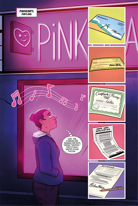 A page from PiNKHEARTS #1. Kailani, a woman with dark tan skin, brown wavy hair tied up in a bun, and a blue hoodie, stands outside a bar called PiNKHEARTS, the pink neon sign glowing above her. On the right side of the page, a stack of five square panels each show a piece of paperwork in Kailani's meeting, marriage, and divorce with her recent ex wife. PiNKHEARTS #1; Levi Buchanan, Melissa Capriglione, Jess Crayons; 2019.