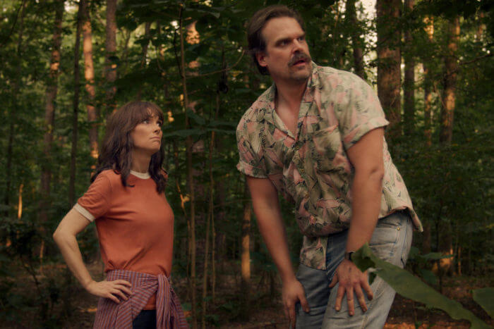 Joyce and Hopper bicker about exploding cars, Russian conspiracies, and foregoing date plans for magnets.