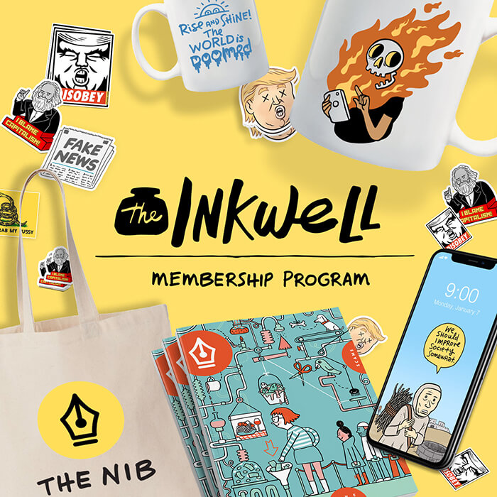 The Nib's Inkwell membership graphic. Merch (a tote bag, physical issues, phone backgrounds, a mug, some stickers) are strewn around the outside of a square graphic on a yellow background. The logo is in the middle, in black text.