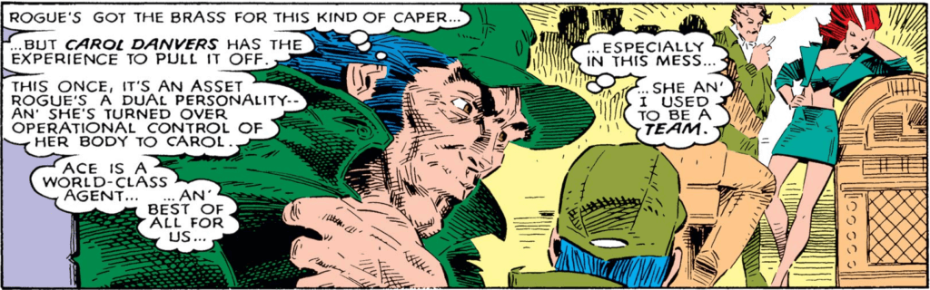 "Panel from Uncanny X-Men #237 - Wolverine reflects that Rogue has ""the brass for this kind of caper,"" but Carol Danvers has the experience to pull it off"