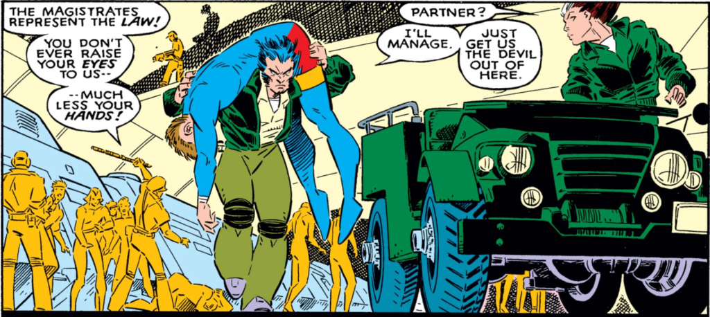 Panel from Uncanny X-Men #237 - Wolverine carrying an unconscious form over his shoulders as he walks away from a Magistrate beating someone