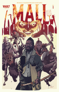Cover for The Mall #1 - Jim Campbell (letterer), Tim Daniel (designer), Addison Duke (colourist), Garry Dauberman (writer), Zak Hartong (artist), Michael Moreci (writer) August 28th, 2019 - A Black man stands in the forefront with a violent group of humans beating each other in the background