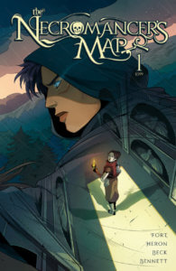 Cover for The Necromancer's Map #1 - AndWorld Design (letterer), Sam Beck (artist), Andrea Fort (writer), Michael Christoper Heron (writer), Ellie Wright (colourist) 28 August 2019 - The large face of a hooded person looms over someone in a room holding a torch