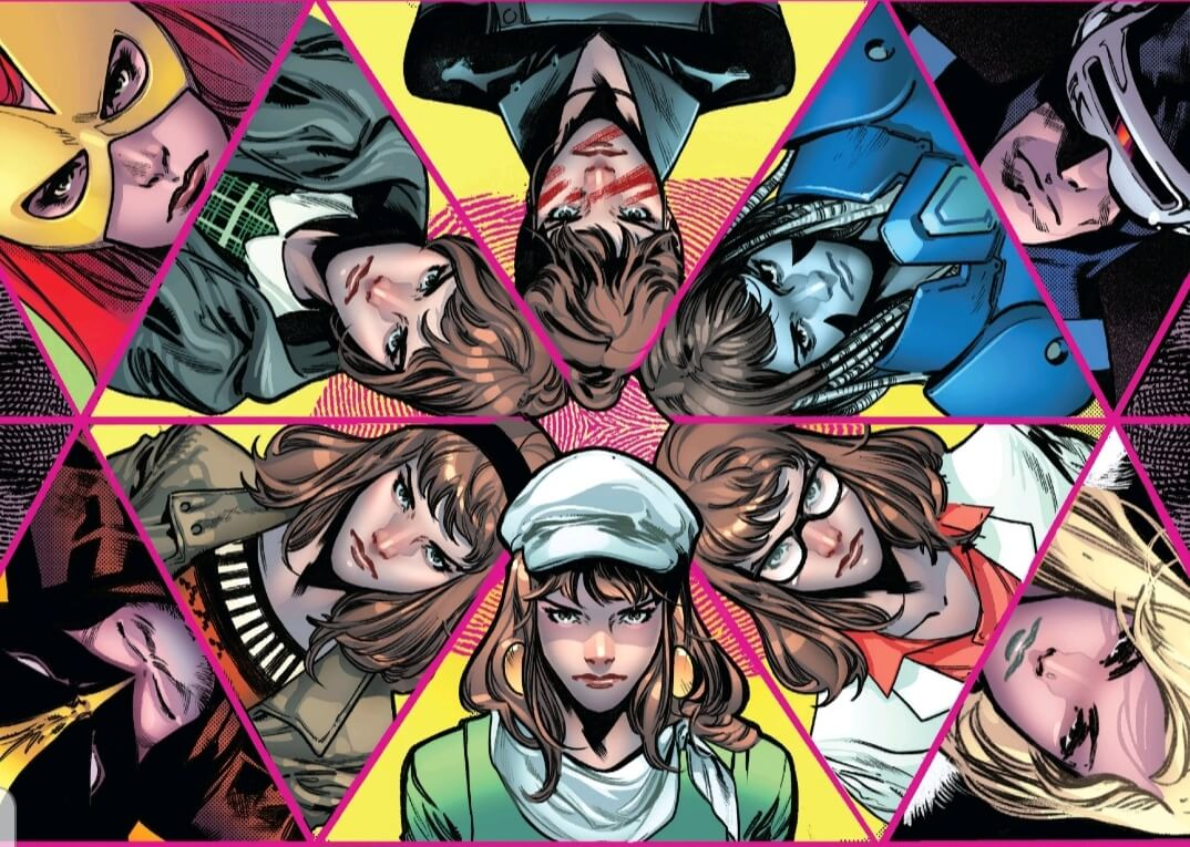 A mosaic of X-Men and enemies, with various incarnations of Moira MacTaggert at the centre