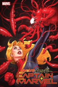 Captain Marvel vs. an evil red tentacled cat