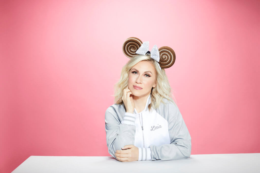 Ashley Eckstein wearing her Princess Leia-inspired Minnie Mouse ears for Her Universe [Photo by Mark Edwards]