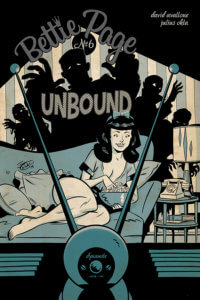 Scott Chantler cover for Bettie Page: Unbound #6, C 2019 Dynamite Comics - A cartoony illustration of Bettie on the couch in front of a TV, eating popcorn, with the shadows of monsters cast on the wall behind her