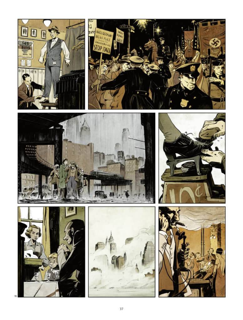 Bootblack Page 37 by Mikaël, Europe Comics - Various city scenes illustrated in muted dark browns and greys