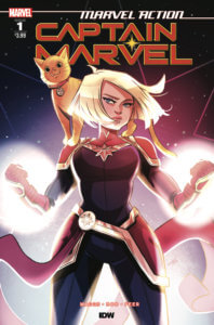 Cover for Marvel Action: Captain Marvel. IDW Publishing - Captain Marvel wields two glowing fists while her cat perches on her shoulders