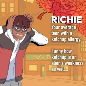 Richie profile, Matchmaker Hero on Webtoon, by Madeline Ince