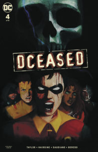 Cover for DCeased #4, Rain Beredo (colors), Stefano Gaudiano (inks), Trevor Hairsine (pencils), Yasmine Putri (cover), Tom Taylor (writer) - The New Teen Titans in an homage to the poster for Final Destination