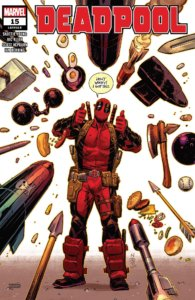 "Deadpool, with dozens of weapons coming at him, says ""don't worry, i've got this"""