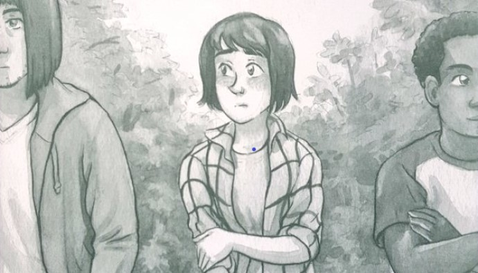 The main character stands awkwardly between two male presenting characters. A forest is in the background