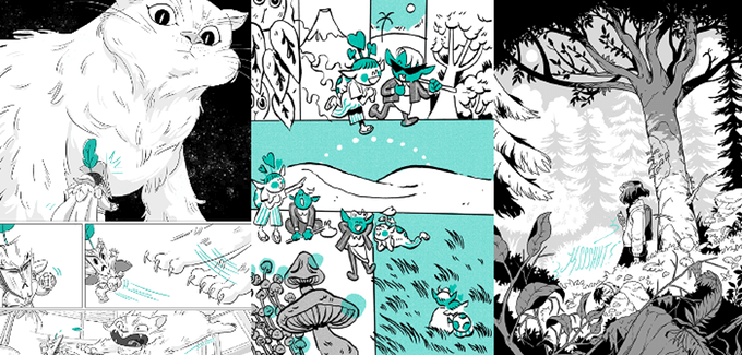 Three pages from ELEMENTS: Earth. The rightmost (by Chrystin Garland) features a large cat staring down and then swiping at a smaller creature in a mask; the middle page (by Diigii Daguna) follows two small, pointed-eared figures as they wander happily through a forest, mountains, and a meadow; and the rightmost (by Chan Chau) is a full-page illustration of a figure with chin-length hair standing under a tree.