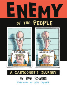 Cover for Enemy of the People. IDW Publishing - A mug-shot of the artist holding up pictures of a caricatured Trump, also as a mug-shot