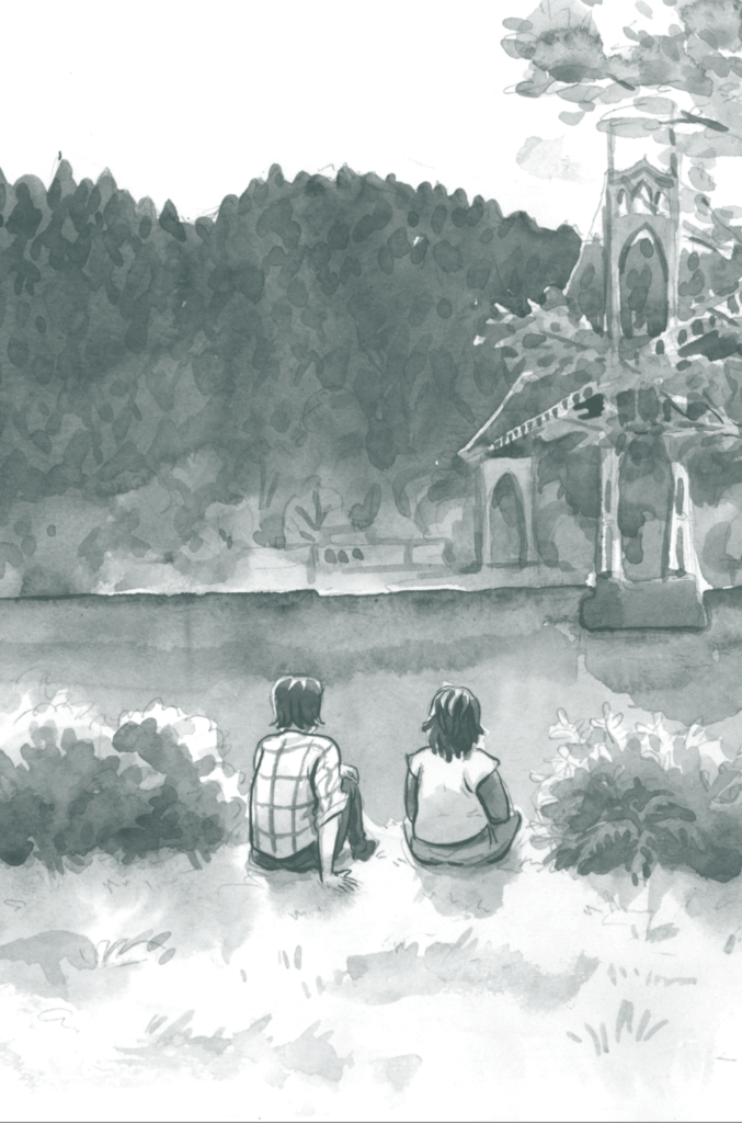 Panel art from No Ivy League, Hazel Newlevant (writer and artist), Roar (Lion Forge), August 21, 2019 - Two people sitting at the edge of a lake in a forest, with no speech bubbles or captions