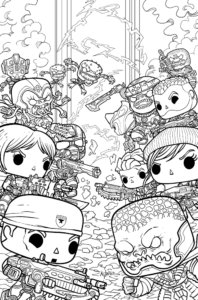 Cover for Gears of War: Gears Pop. IDW Publishing - Black-and-white illustration of chibi characters facing off with guns and other weapons
